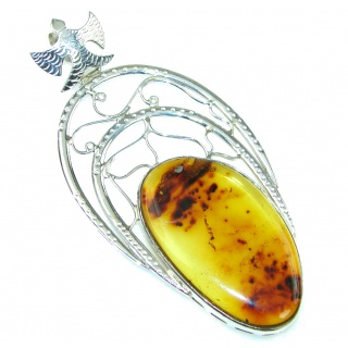 Large! Fashion Green Polish Amber Sterling Silver pendant