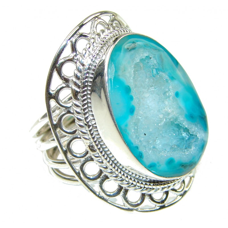 Big! Open Ocean! Agate Druzy Sterling Silver Ring s. 9 1/4