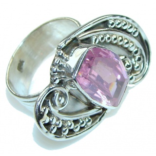 Summer Time! Pink Topaz Quartz Sterling Silver ring s. 8