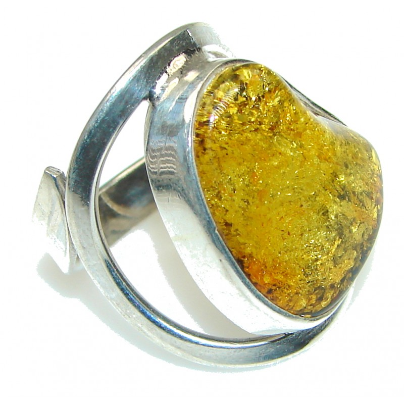 Natural!! Polish Baltic Brown Amber Sterling Silver Ring s. 10