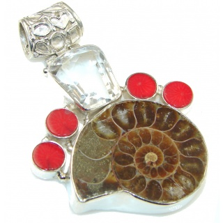 Big! Very Powerful Shell Ammonite Fossil Sterling Silver Pendant