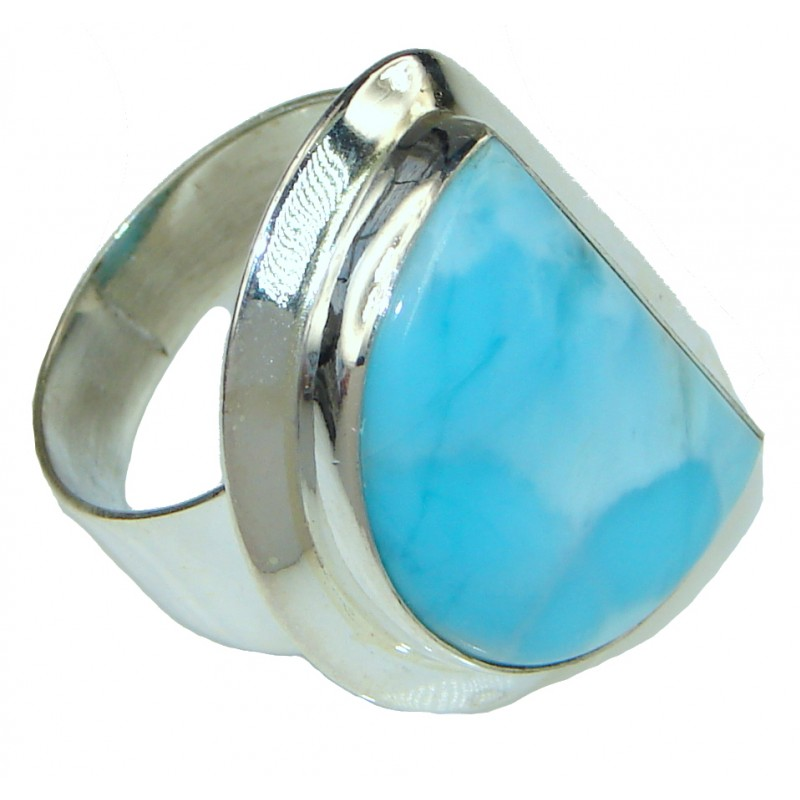 Magic Sea!! AAA Blue Larimar Sterling Silver Ring s. 8