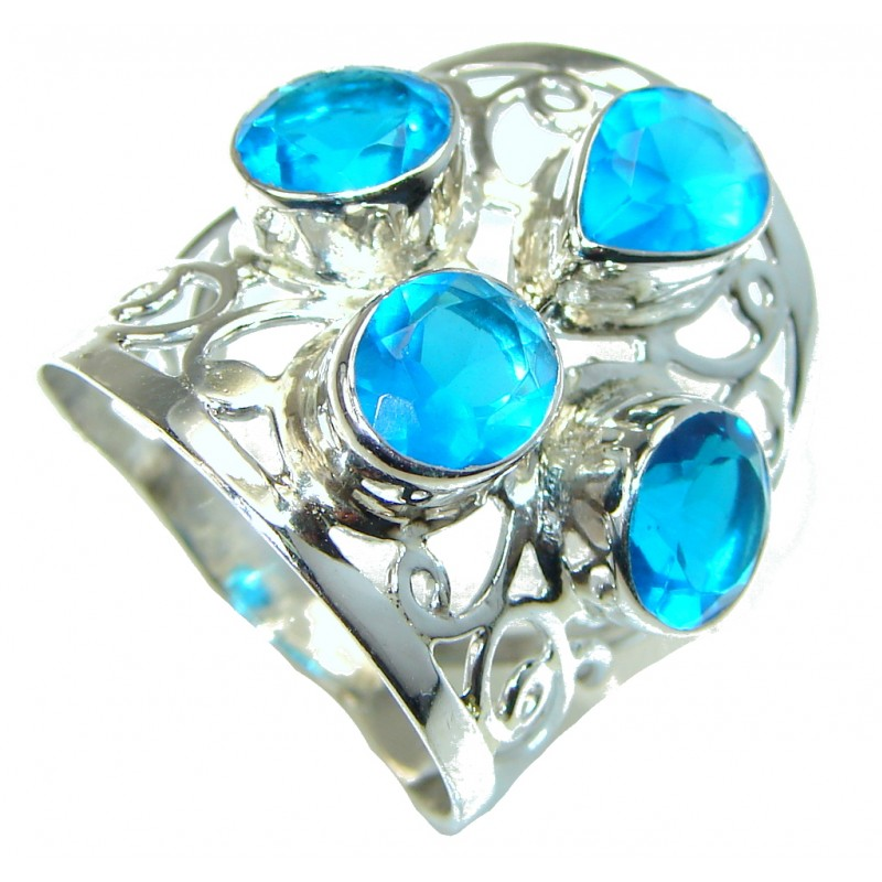 Big! Paris Blue Topaz Sterling Silver Ring s. 12