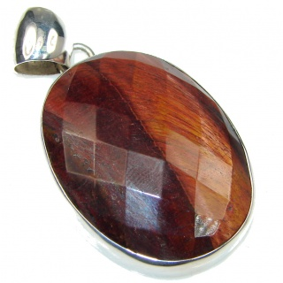 Fantastic Faceted AAA Tigers Eye Sterling Silver Pendant
