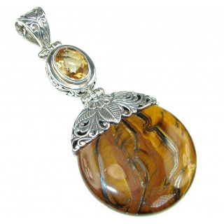 Large! Fashion Golden Tigers Eye, Citrine Sterling Silver Pendant