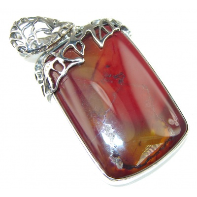 Stylish! Brown Australian Mookaite Sterling Silver Pendant