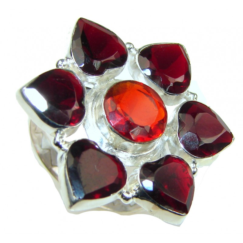 Lovely! Red Garnet Quartz Sterling Silver ring s. 8 1/4