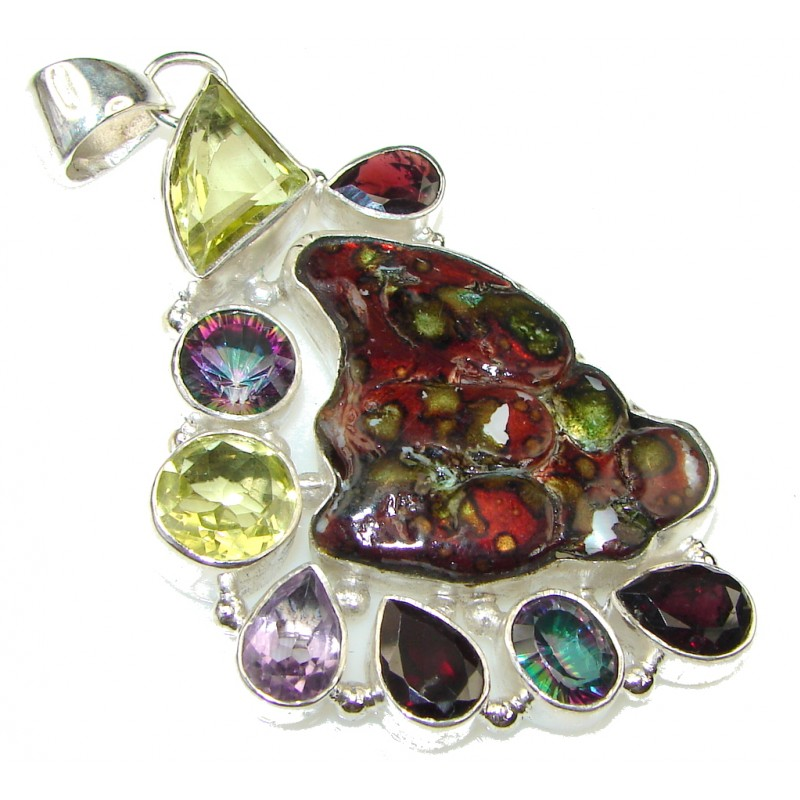 Big! Beauty! Multicolor Mexican Glass Sterling Silver pendant