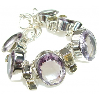 Natural Light Purple Amethyst, Yellow Citrine Sterling Silver Bracelet