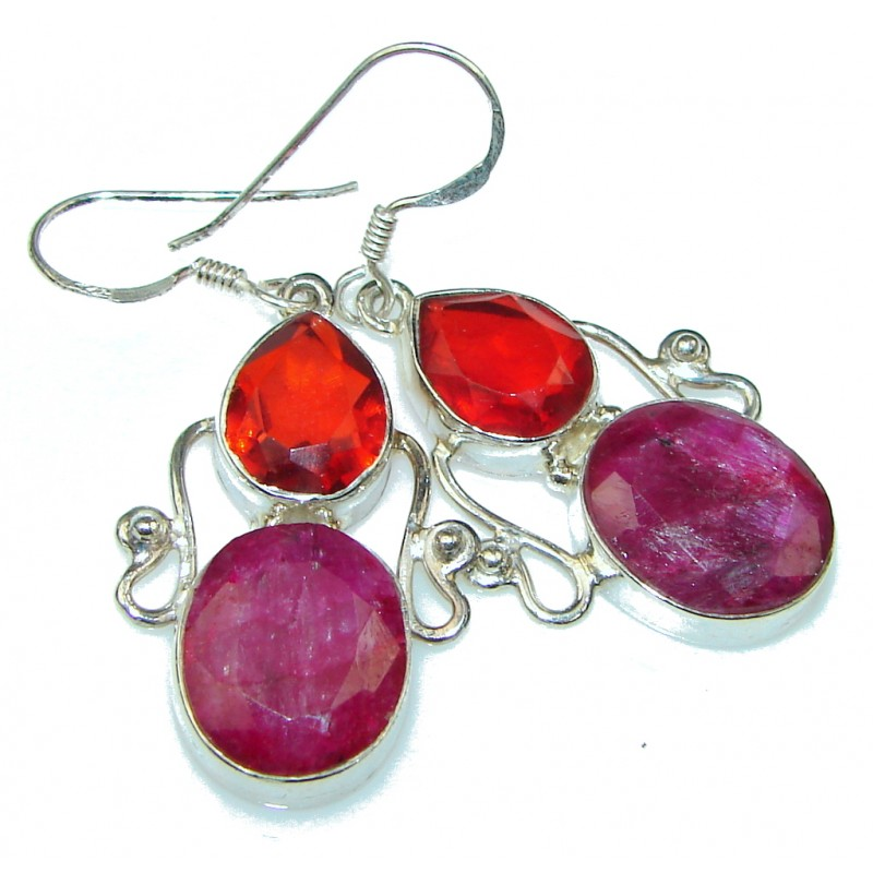 Amazing Pink Ruby, Quartz Sterling Silver earrings