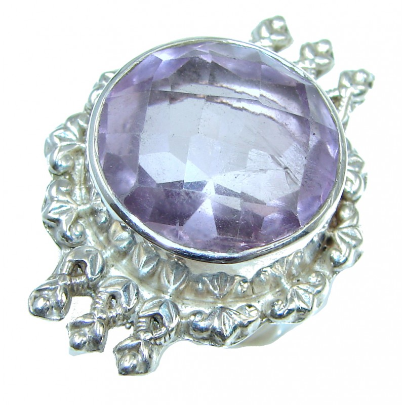 Big! Delicate Purple Amethyst Sterling Silver ring s. 8 1/4