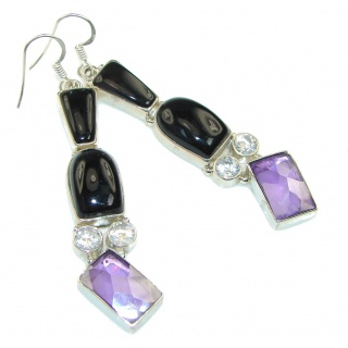 True Emotion! Black Onyx Sterling Silver earrings / Long