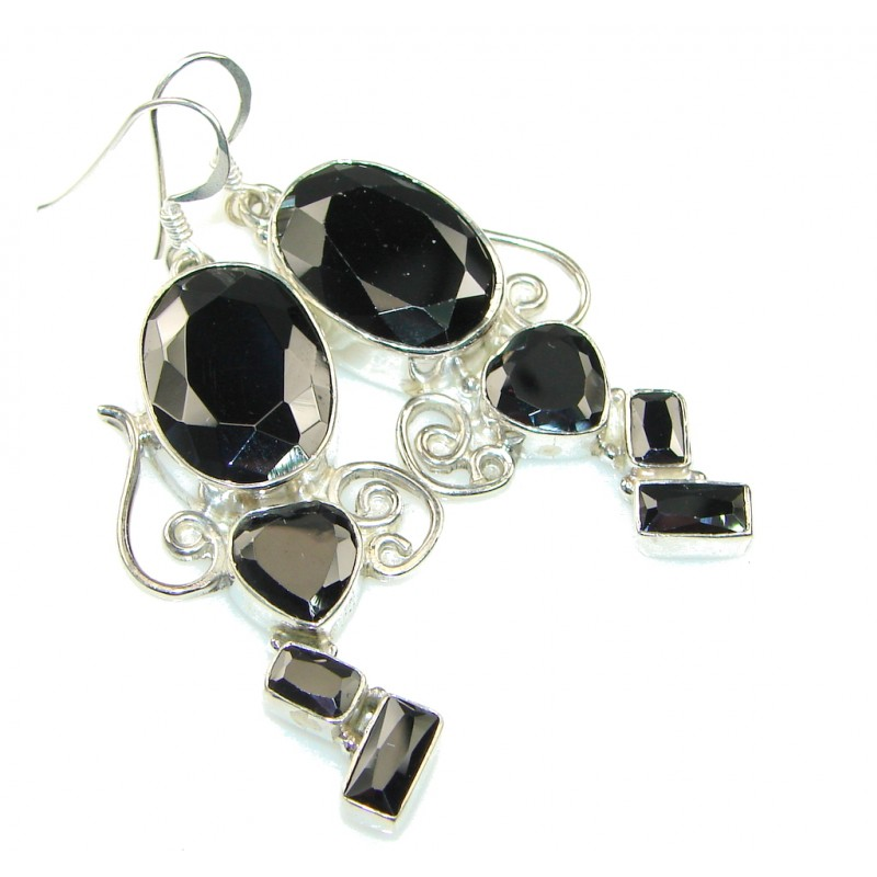 Night Time! Silver Hematite Sterling Silver earrings