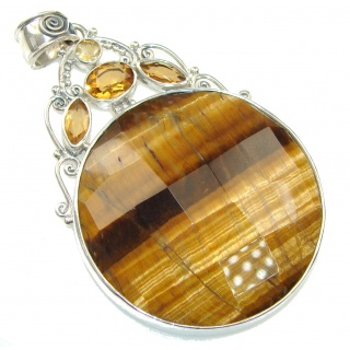 Pale Beauty! Brown Tigers Eye Sterling Silver Pendant