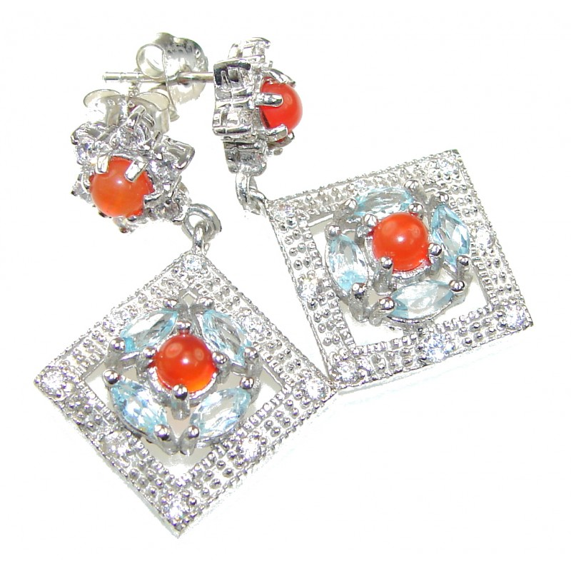 Bali Secret! Orange Carnelian, White Topaz, Swiss Blue Topaz Sterling Silver earrings