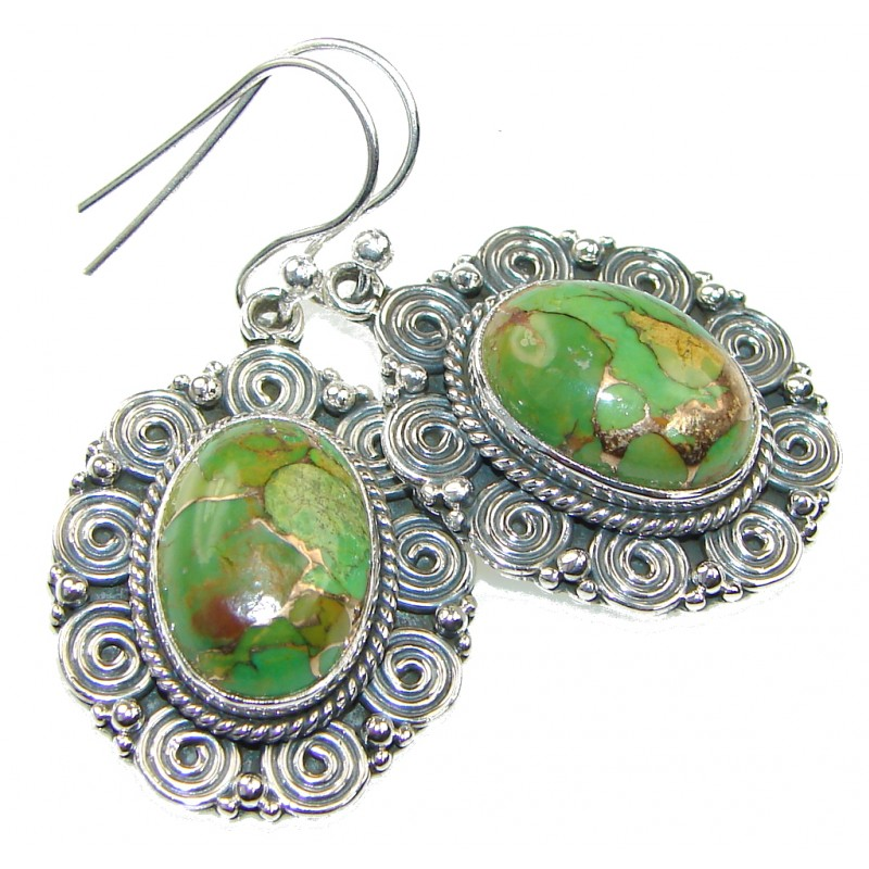 Delicate! Green Copper Turquoise Sterling Silver earrings