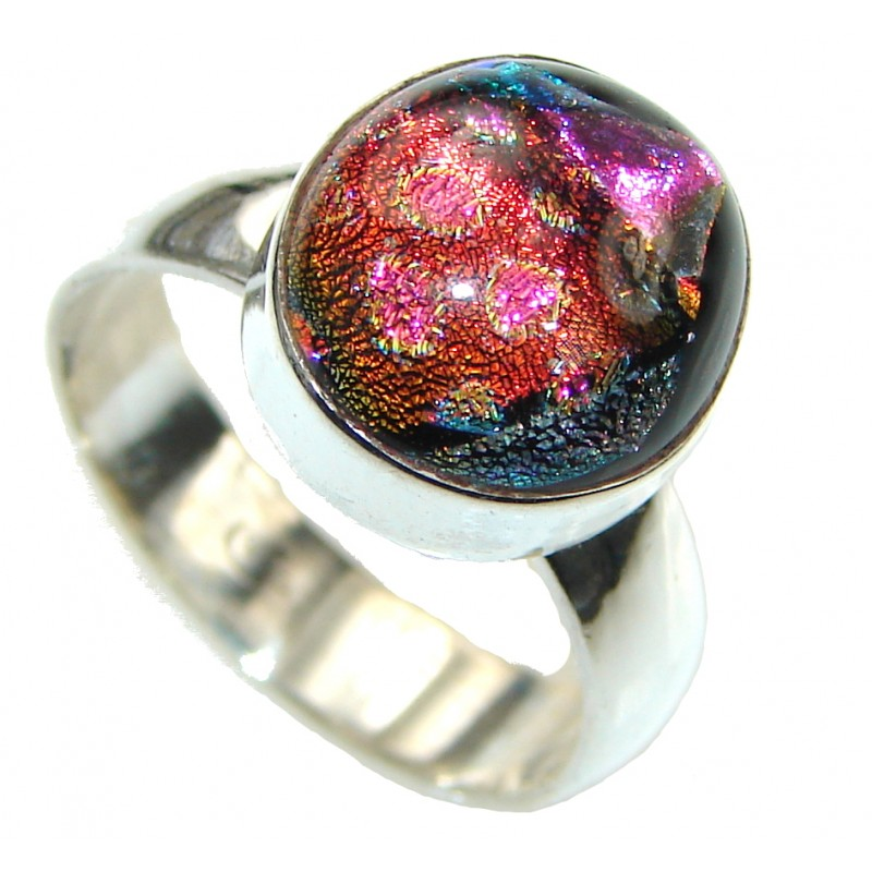 Amazing! Mexican Dichroid Glass Sterling Silver Ring s. 8