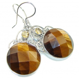 Magic! Brown Tigers Eye Sterling Silver earrings