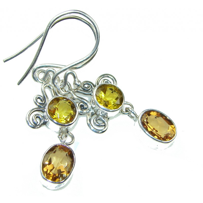 Charming! Yellow Citrine Sterling Silver earrings
