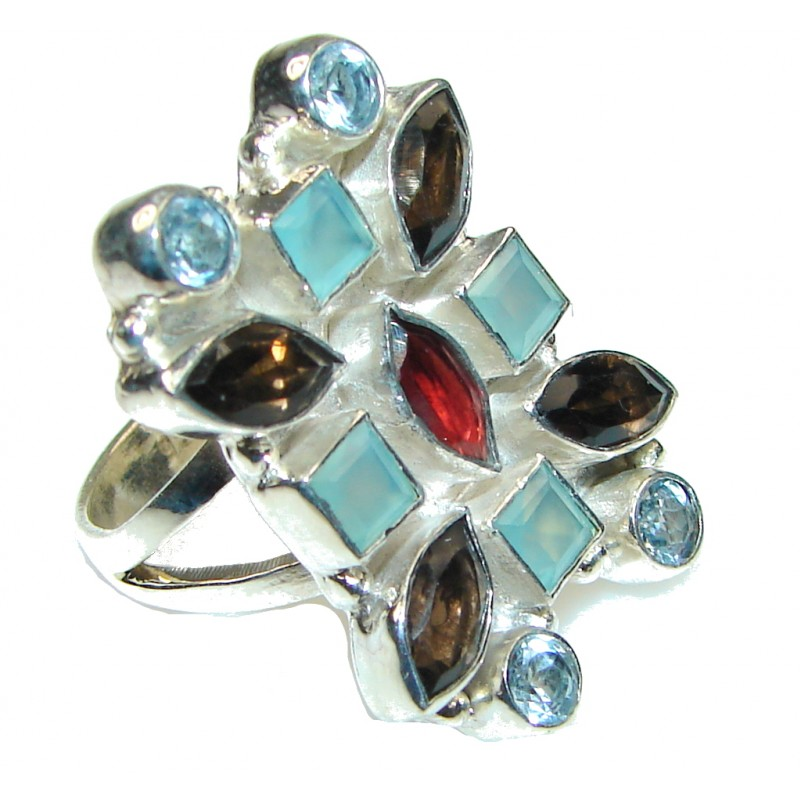 Pacific Glory! Multigem Sterling Silver Ring s. 7 1/2