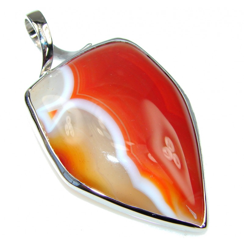 Excellent Orange Agate Sterling Silver Pendant