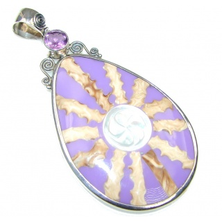 Purple Fashion Ocean Shell Sterling Silver Pendant