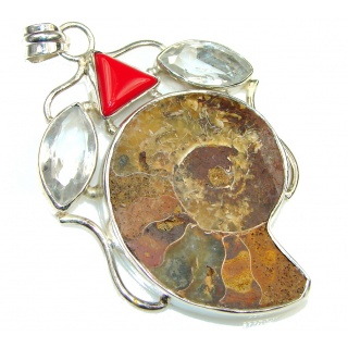 Big! Very Powerful! Shell Ammonite Fossil Sterling Silver Pendant