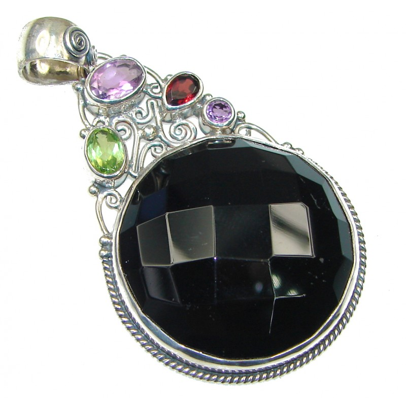 Amazing! Black Onyx Sterling Silver Pendant