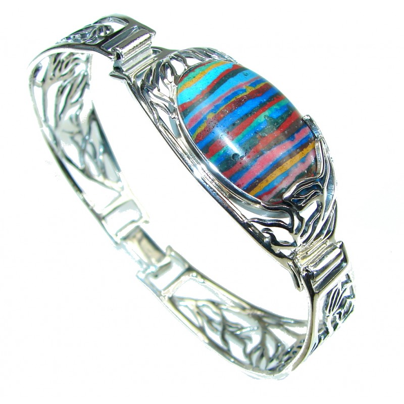Natural Beauty Rainbow Calsilica Sterling Silver Bracelet