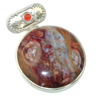 Excellent! Brown Moss Agate Sterling Silver Pendant