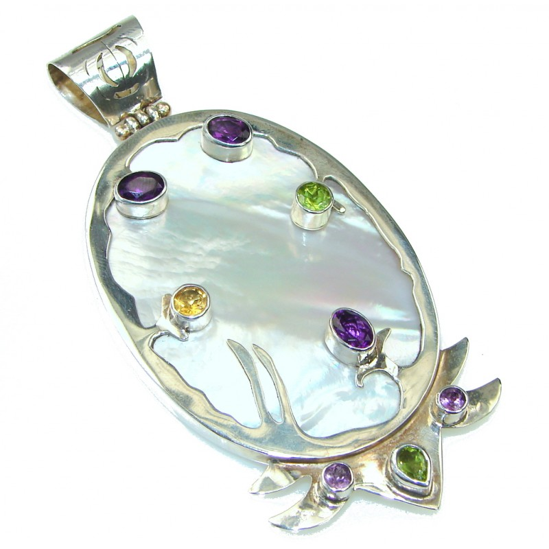 Large! High Work Quality! Blister Pearl Sterling Silver pendant