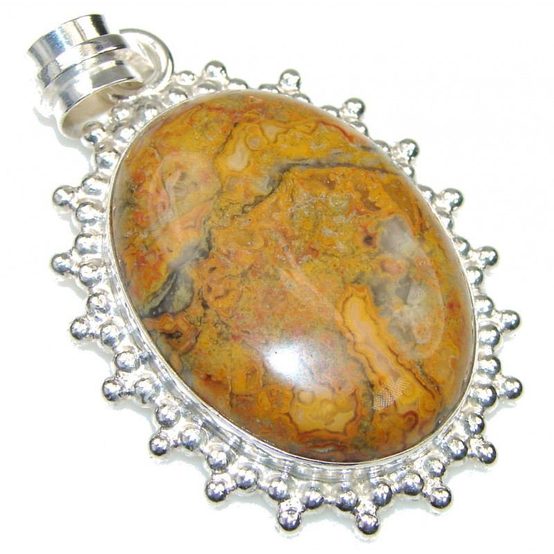 Excellent Brown Montana Agate Silver Overlay pendant