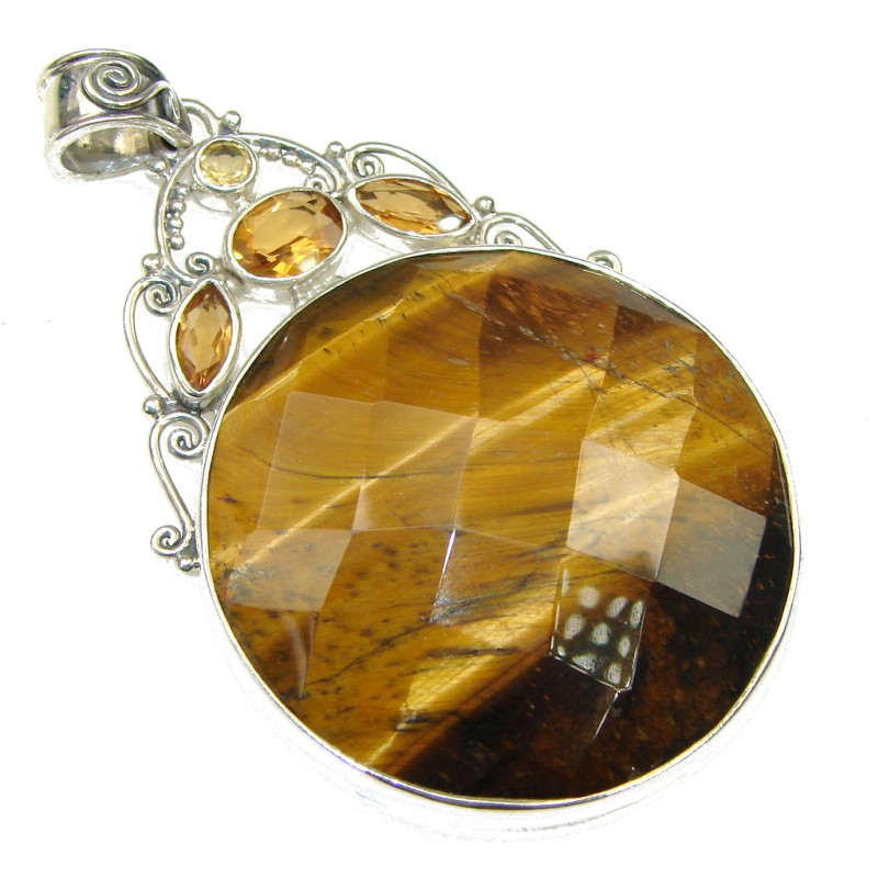 Love Declared! Brown Tigers Eye Sterling Silver Pendant