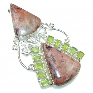 Big! Fantastic Brown Montana Agate Sterling Silver pendant