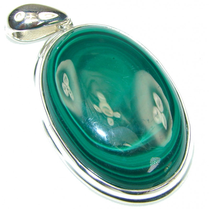 Just Glow! AAA Green Malachite Sterling Silver Pendant