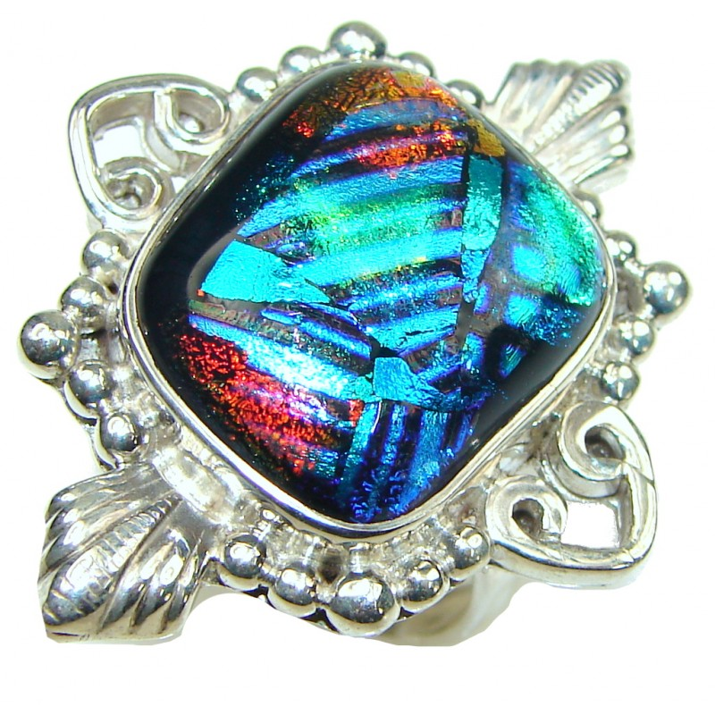 Amazing! Mexican Dichroid Glass Sterling Silver Ring s. 9
