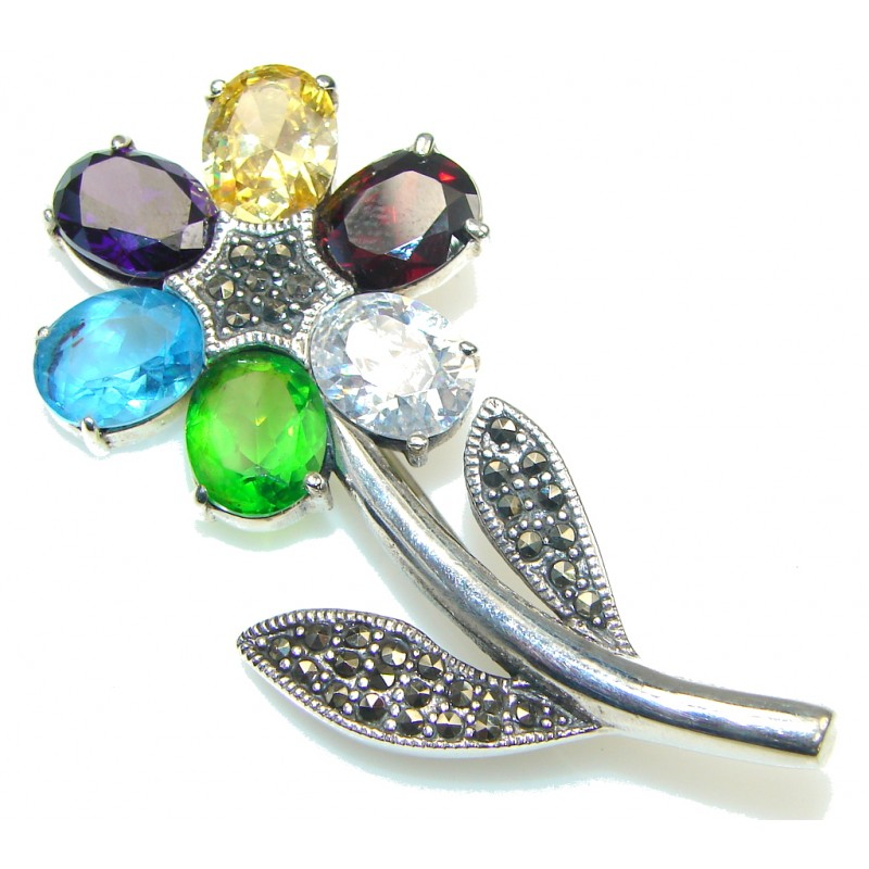 Perfect Design! Multicolor Quartz & Marcasite Sterling Silver pendant / Brooch