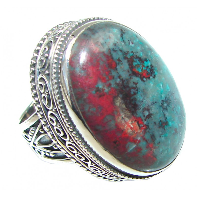Big! Natural Red Sonora Jasper Sterling Silver ring s. 6