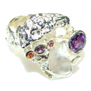 Big!! Delicate Italy Made Purple Amethyst Sterling Silver ring; 8