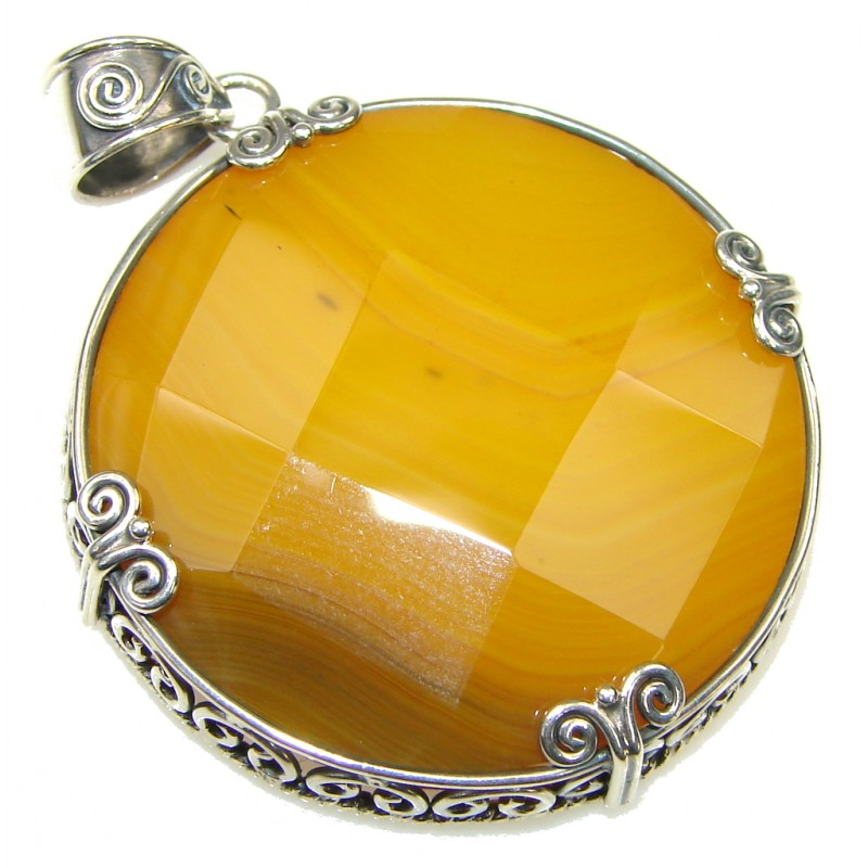 Simple Yellow Agate Sterling Silver Pendant
