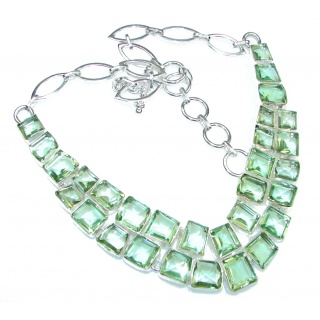 Amazing! Green Lime Citrine Sterling Silver necklace