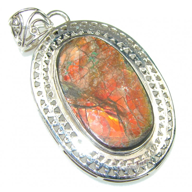 Just Perfect! Red Ammolite Sterling Silver Pendant