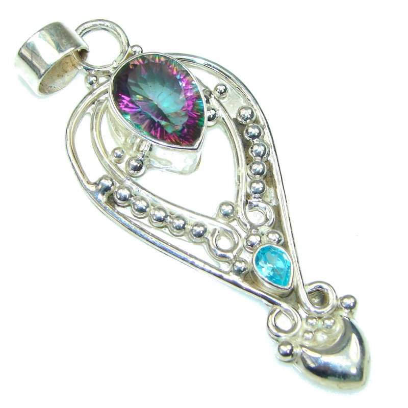 Big! Bali Style! Rainbow Magic Topaz Sterling Silver Pendant