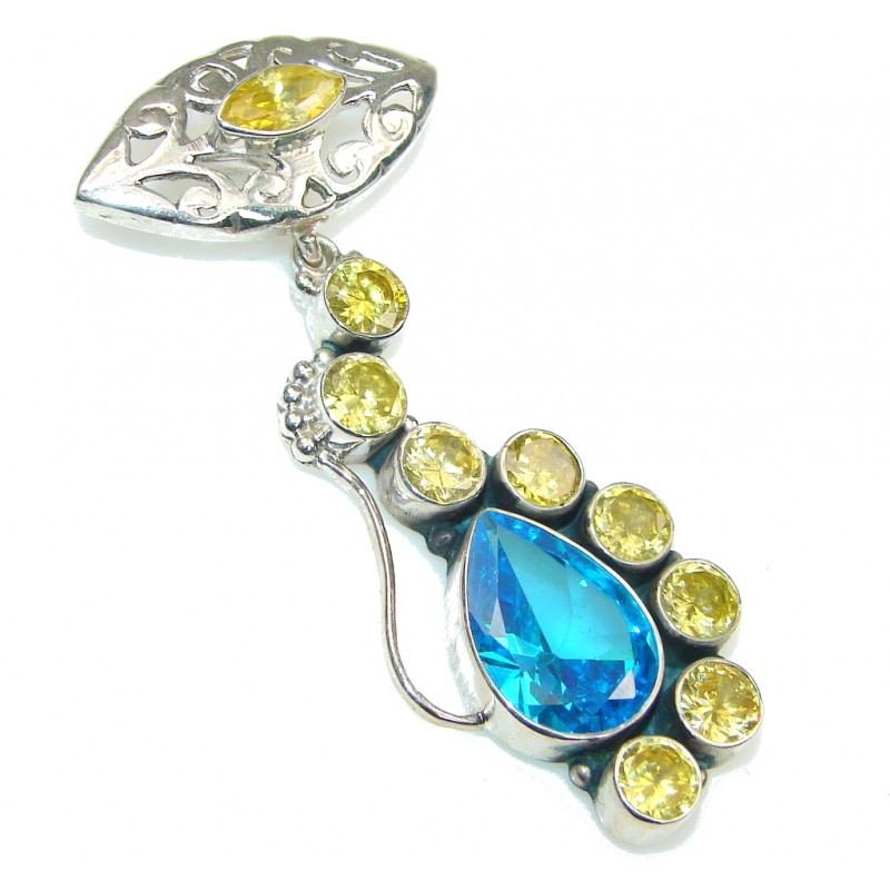 Blue Ocean! Created Blue Topaz & Yellow Quartz Sterling Silver Pendant
