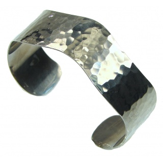 Beautiful! Hammered Silver, Black Rhodium Plated Sterling Silver Bracelet / Cuff