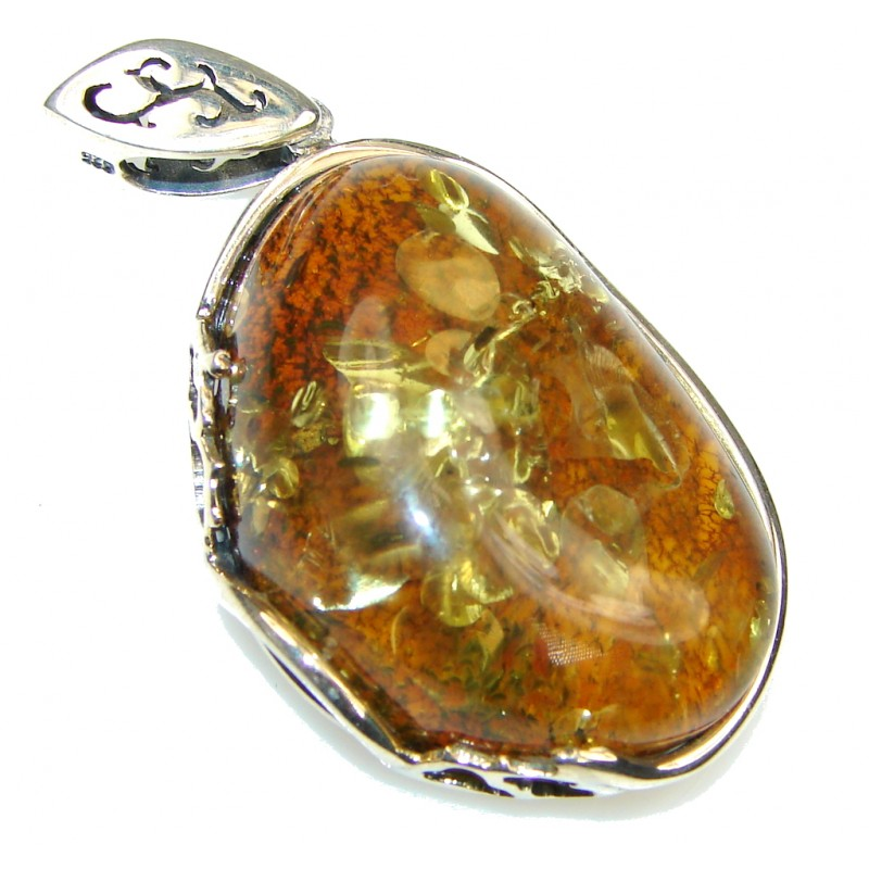 Beautiful! Baltic Polish Amber Sterling Silver pendant