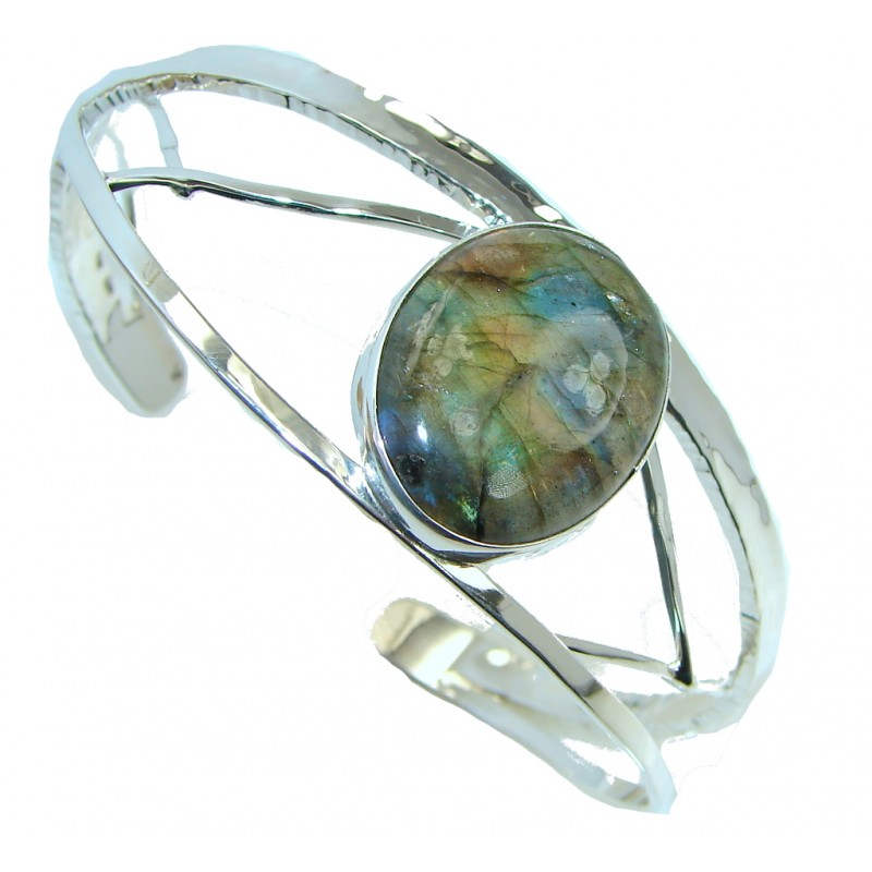 Natural AAA Blue Labradorite Hammered Sterling Silver Bracelet / Cuff