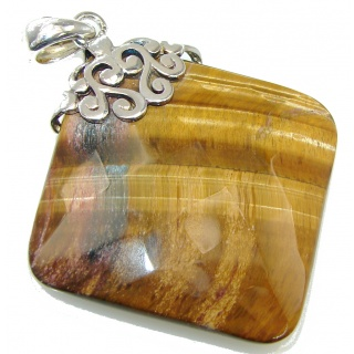 Amazing! Brown Tigers Eye Sterling Silver Pendant