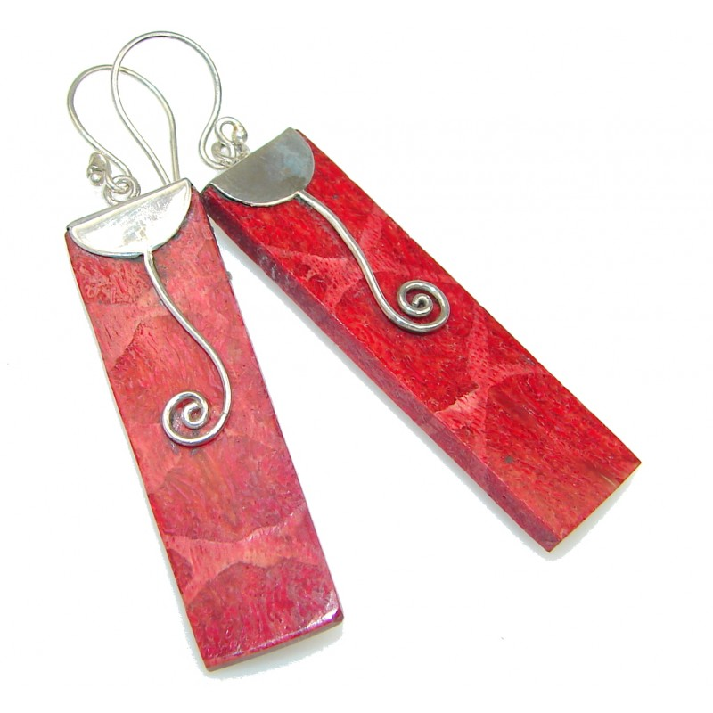 Lovely!!! Red Fossilized Coral Sterling Silver earrings