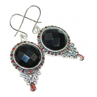 Secret Black Onyx & Garnet Sterling Silver earrings